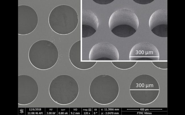 Example of densely packed holes glass drilling